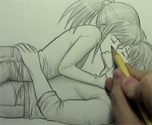 Mark Crilley漫画教程:亲吻姿势的画法